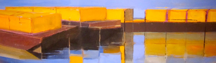 Barges II   2011   Oil on board   31.4 x 101.2 cm