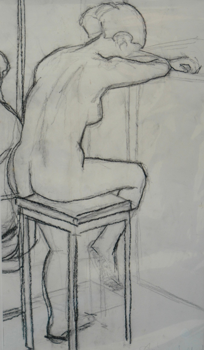 Nude Sketch 1 | c.1993 | Charcoal on paper | 70 x 39 cm