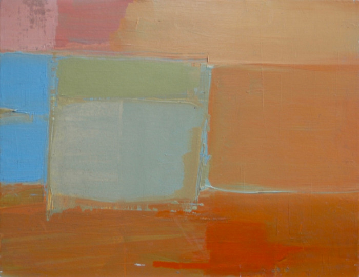 Abstract orange and green | c.2003 | Oil on board | 18 x 23 cm