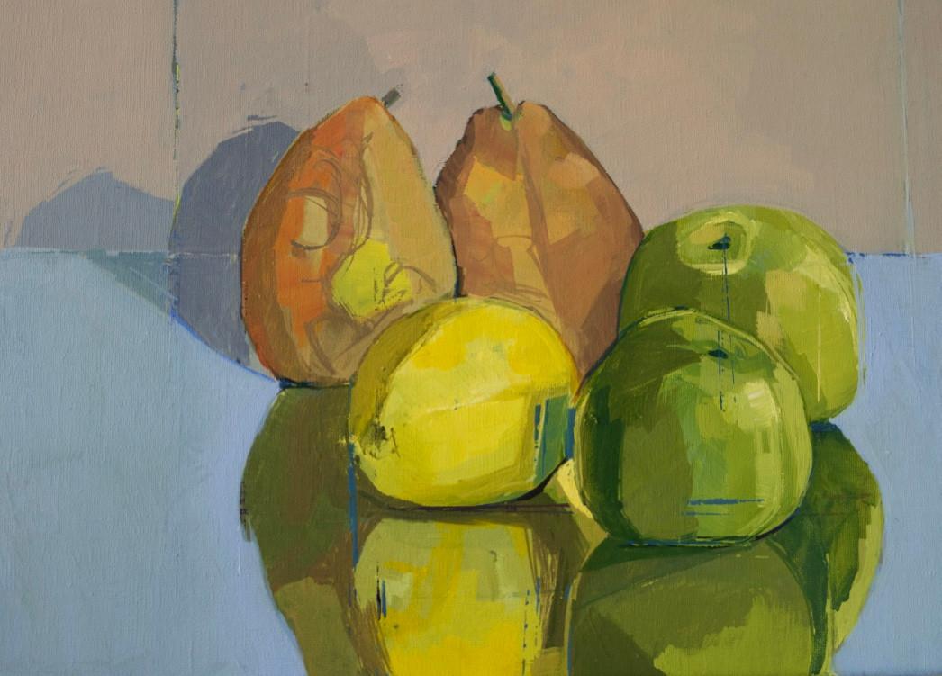 Still life pears apples lemon | 2012 | Acrylic on canvas | 30 x 40 cm