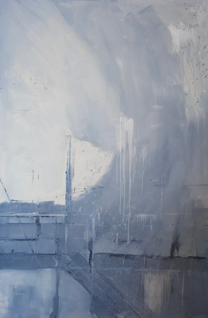 Snow storm over a boatyard   c.2013   Oil on paper   122 x 80 cm
