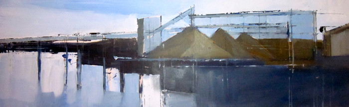Cement works (long)   2011   Oil on board   31.4 x 101.2 cm