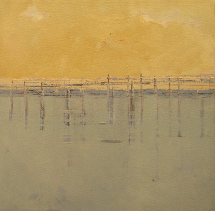 Thames jetty   c.2011   Oil on canvas   30.5 x 30.5 cm