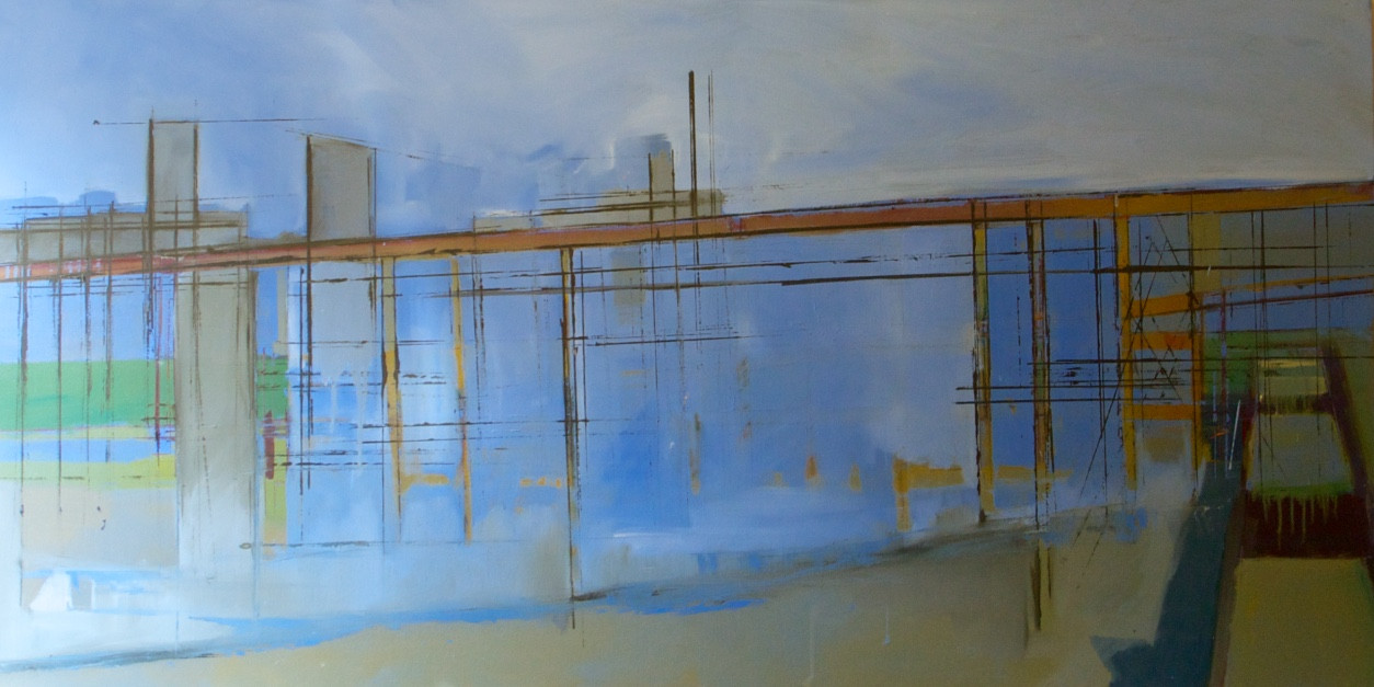 Cement works Greenwich | 1999 | Oil on canvas | 72.2 152 cm