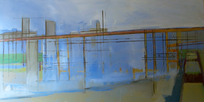 Cement works Greenwich   1999   Oil on canvas   72.2 152 cm
