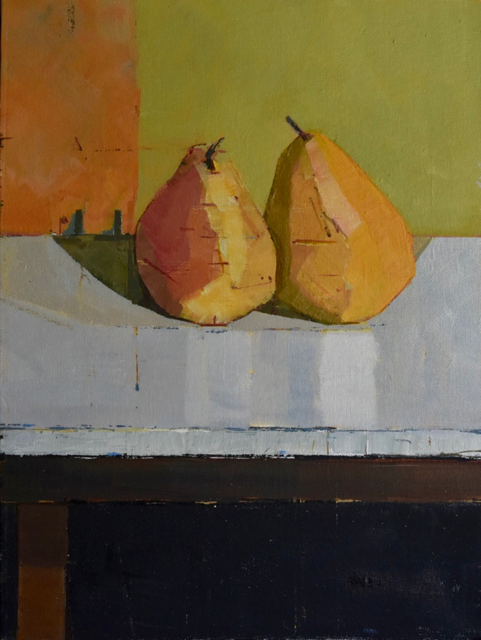 Pears on a small table II | 2013 | Oil on board | 43 x 33 cm