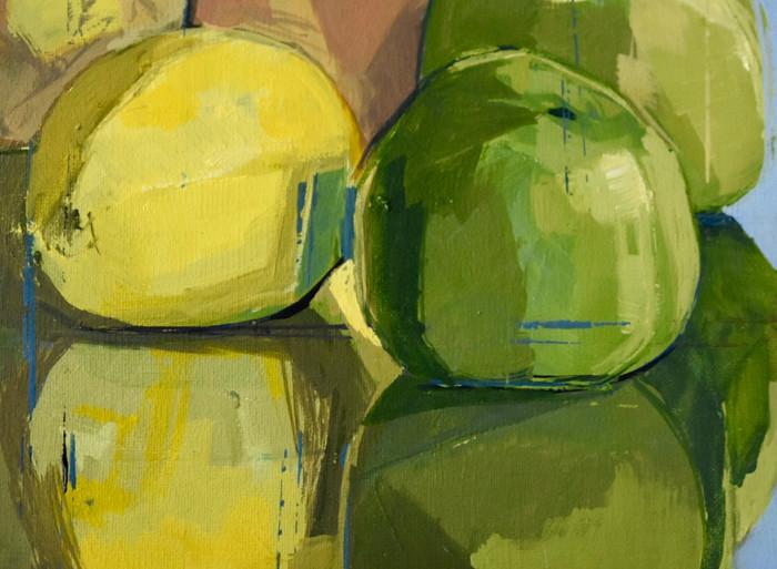 Still life apples pears lemon | 2012 |  Acrylic on canvas | detail
