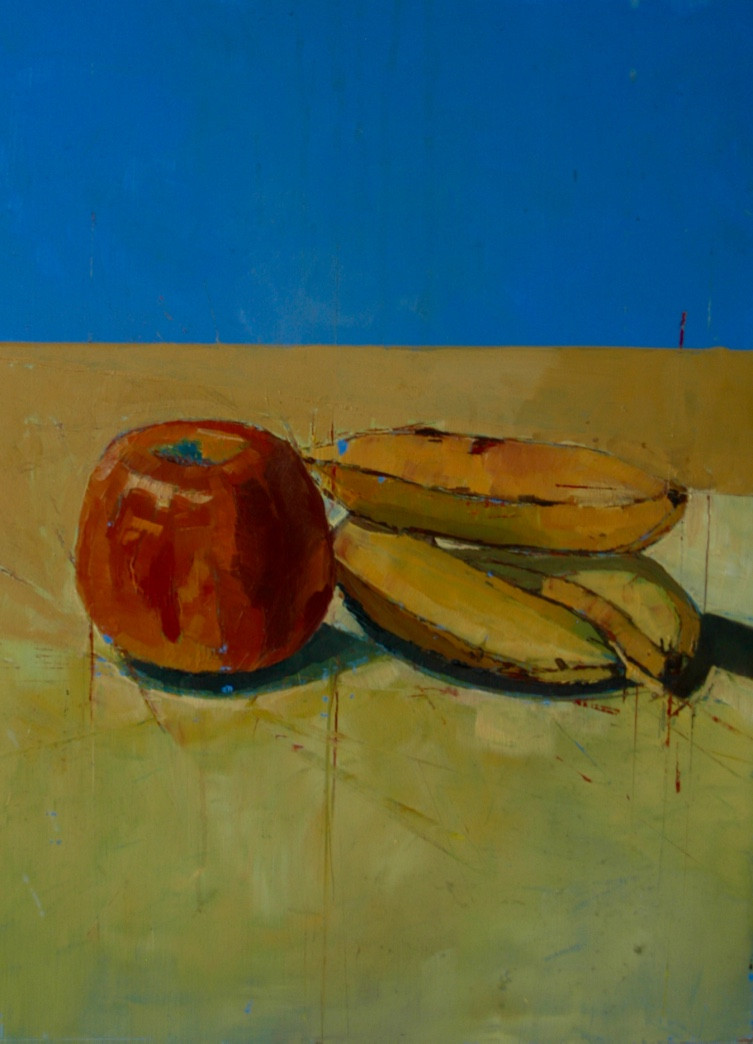 Still life with apples and bananas | 2004 | Oil on board | 50.5 x 41 cm