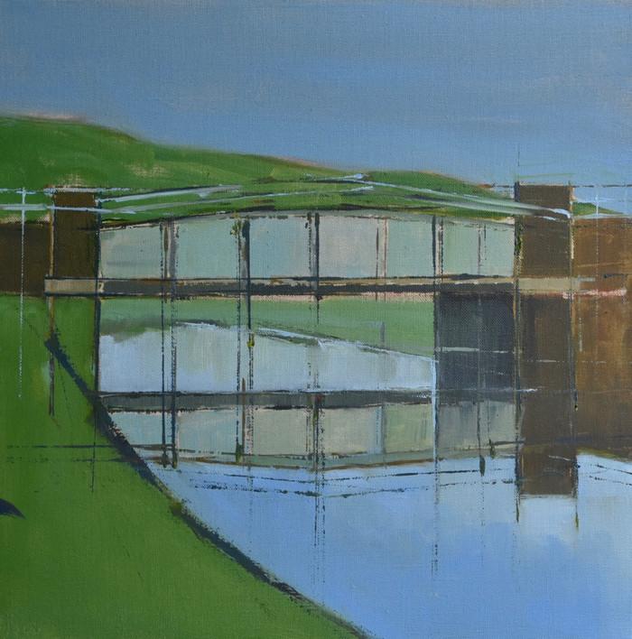 Exceat Bridge   2014   Acrylic on canvas   45.7 x 45.7 cm