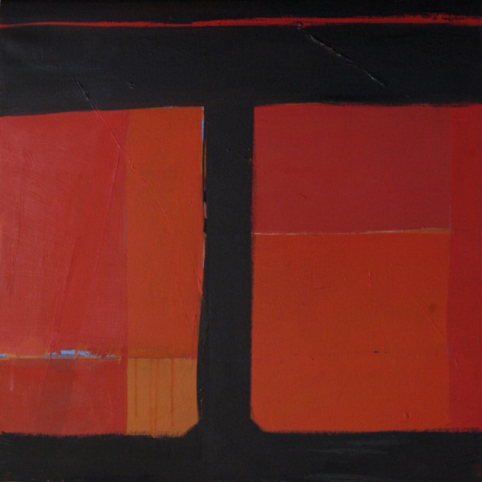 Composition - black and red | c.2014 | Oil on canvas | 45.7 x 45.7 cm