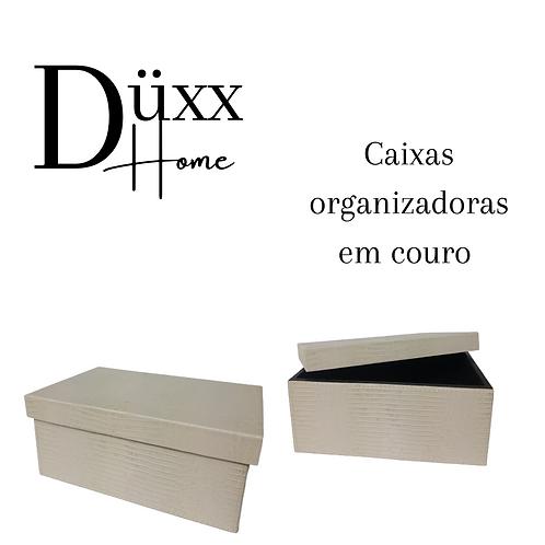 Caixa organizadora revestida em couro lezard