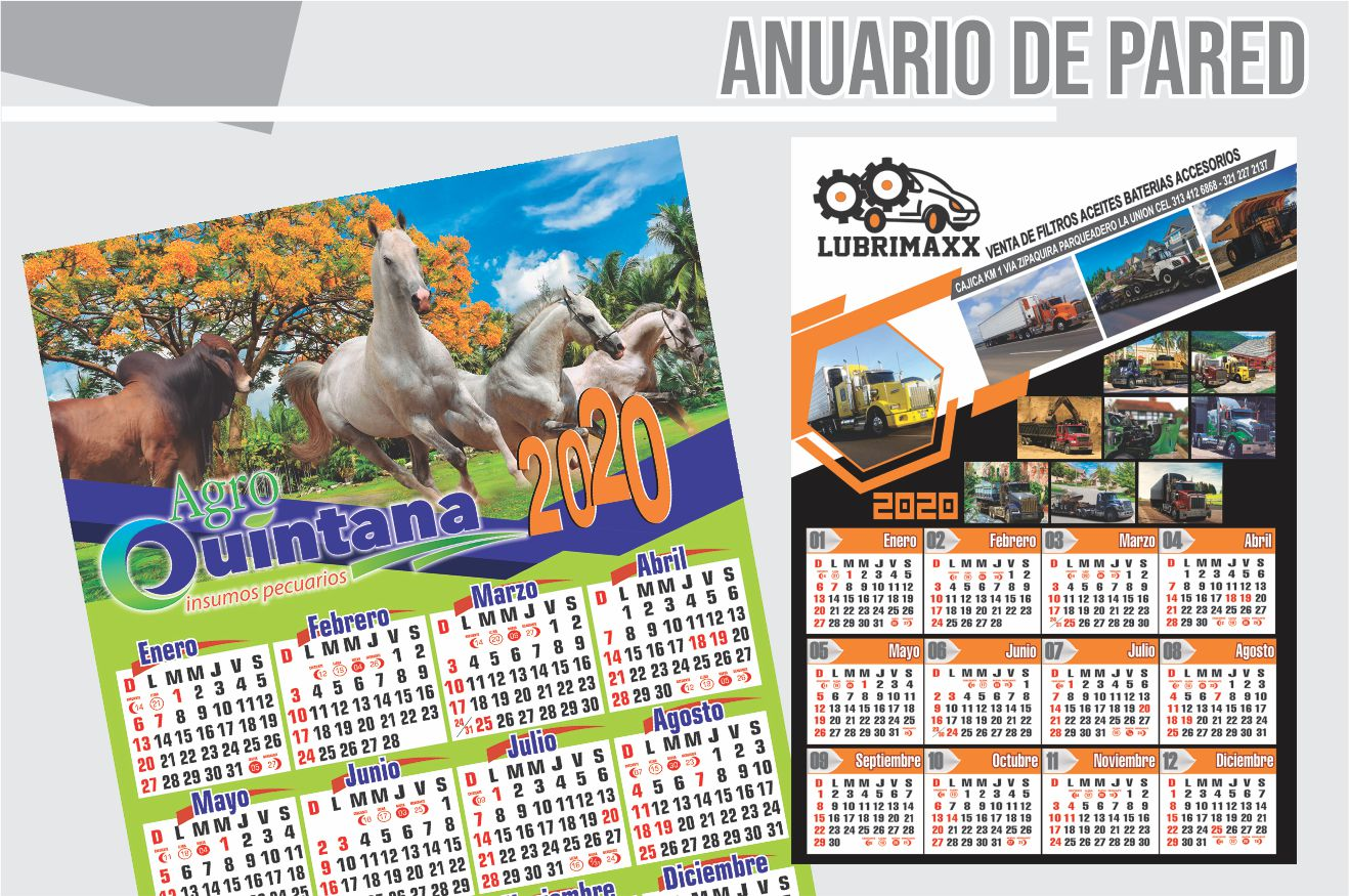 almanaque anuario de pared