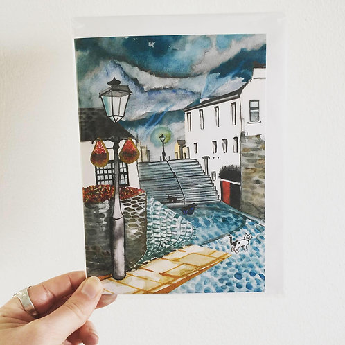Lowry Inspired Black Stairs Art Card