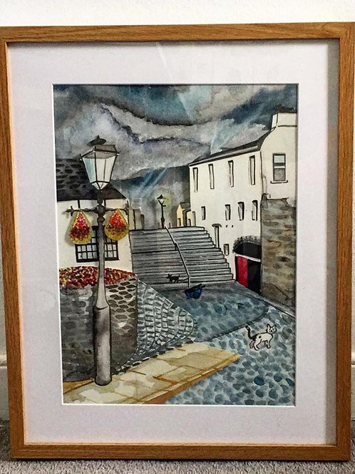 Lowry Inspired Black Stairs - Original