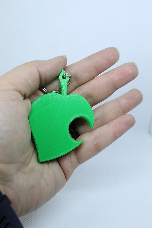Animal Crossing Leaf Amiibo Keychain 3D Printed on Demand