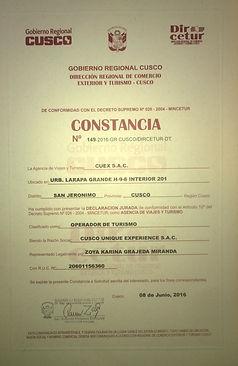 Cusco Experience Certificate