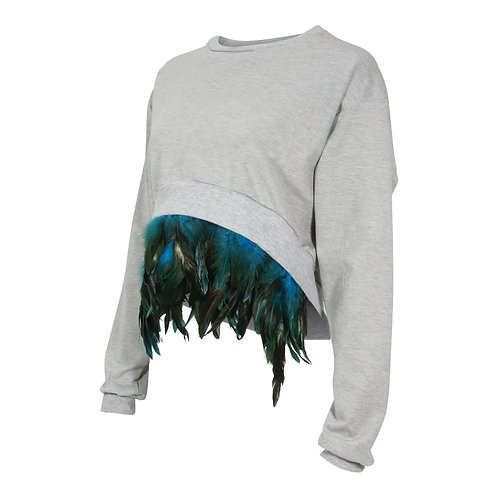 RON DAVID | OSTRICH FEATHER SWEATSHIRT GREY