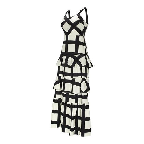 RON DAVID | RESORT BLACK AND WHITE LATTICE DRESS