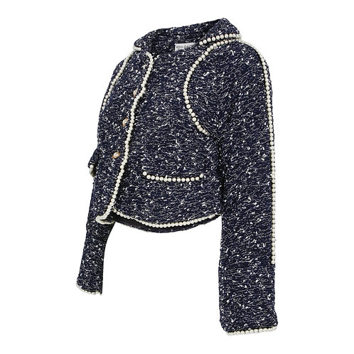 RON DAVID | SOFT DENIM TWEED JACKET WITH PEARL