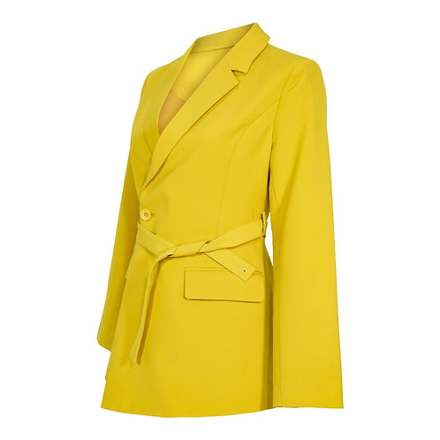 RON DAVID | WOMEN'S BELTED BLAZER SOLF GOLDEN YELLOW