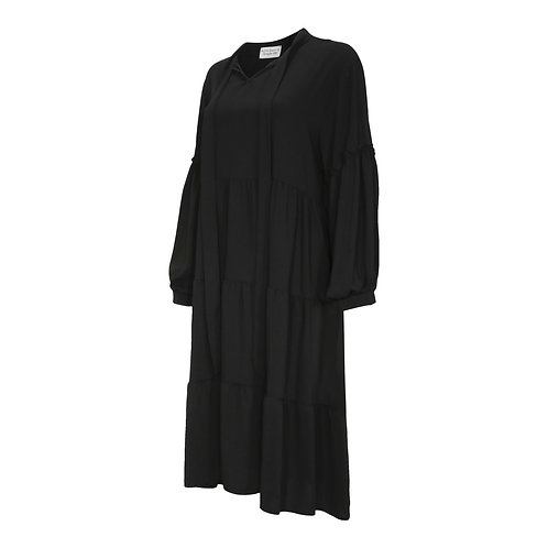 RON DAVID | DRESS BLACK SUPER MAXI LONG SLEEVE