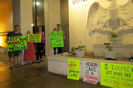 Alert -- Vigil at Toomey's Harrisburg Office tonight precedes tomorrow's rally to save our h