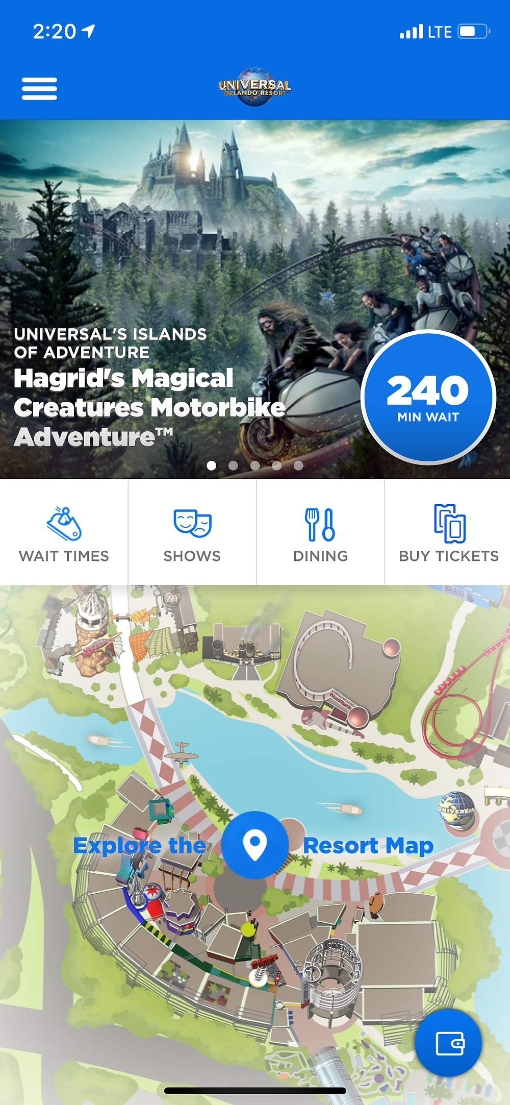 The app interface - showing the current wait time for the new ride.