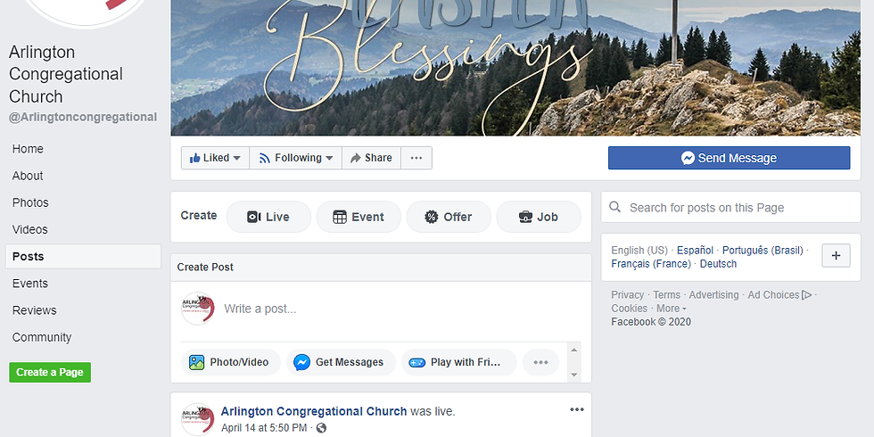 Sunday Worship on Facebook Live