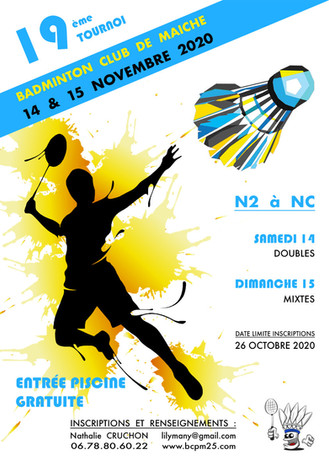 19ème tournoi de Maîche ! 14 et 15 Nov 2020 à Maîche
