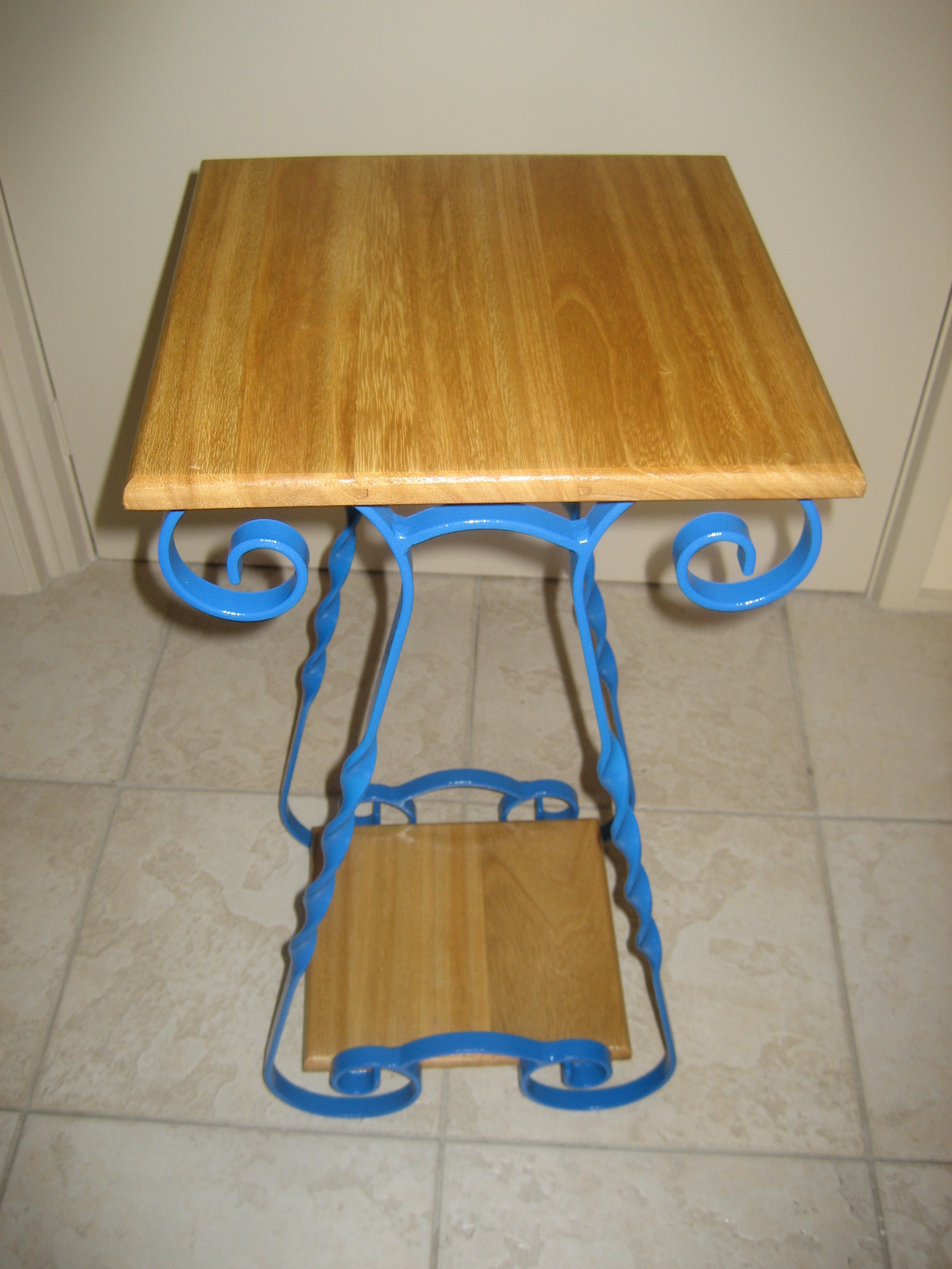 Blue Side Table Varnish Top & Bottom