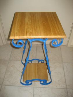 Blue Side Table Varnish Top & Bottom