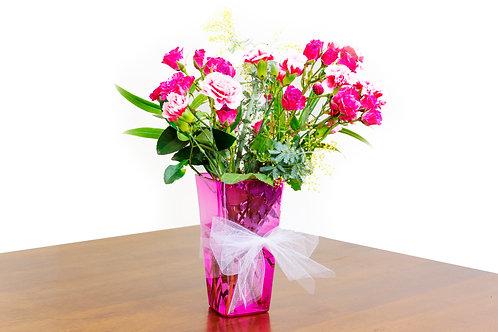 Pink Translucent Flower Vase