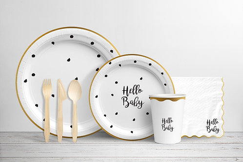 Hello Baby - Black, White and Gold