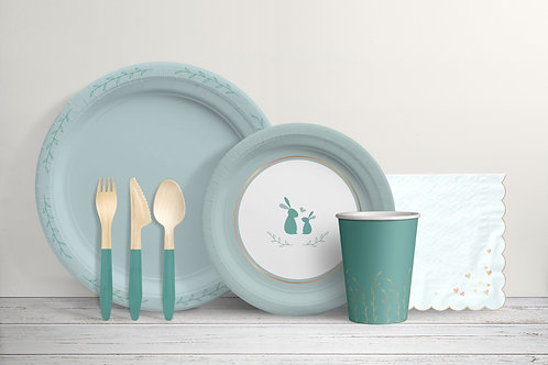 Baby Cottontail - Mint Green and Gold