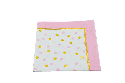 Gold and Pink Polka Dot Napkins