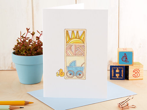 Blue New Baby Card