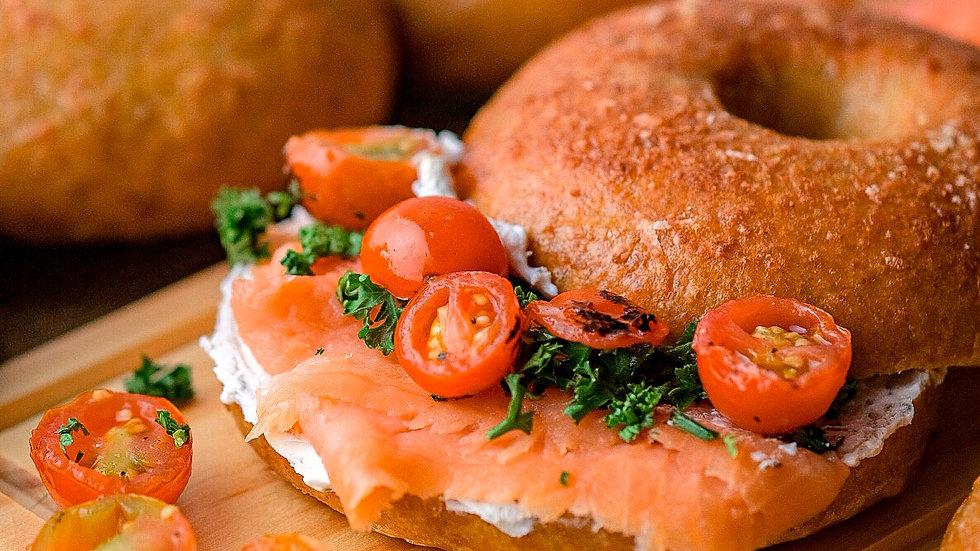 Keto Bagels w/Cream Cheese & Smoked Salmon