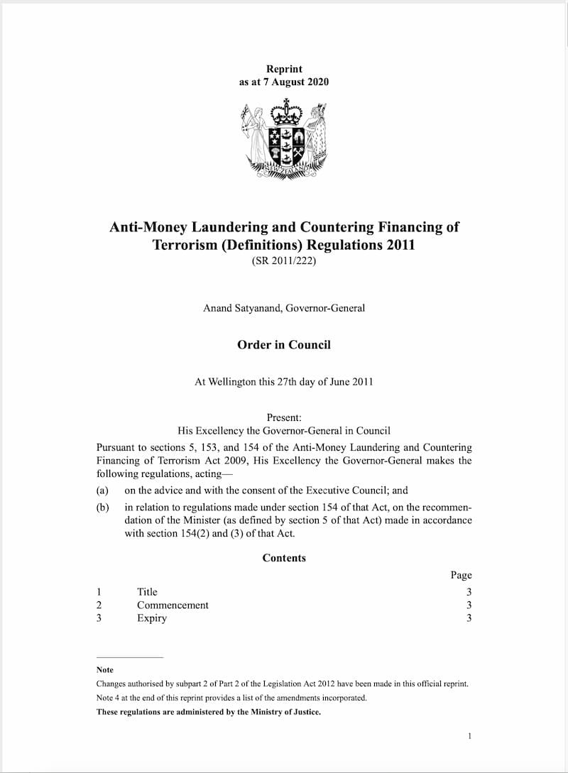 Anti-Money Laundering and Countering Financing of Terrorism (Definitions) Regulations (2011)