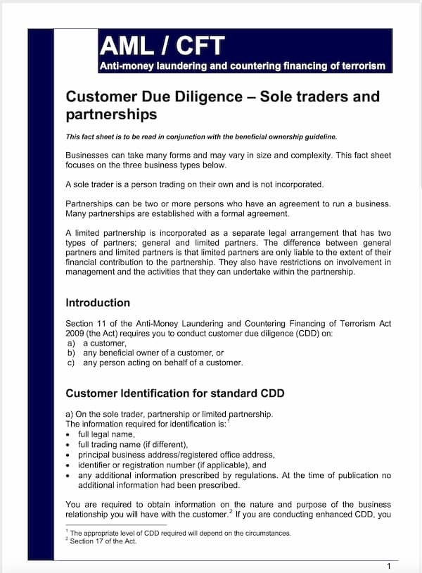 Customer Due Diligence Sole Trade Partnerships Fact Sheet