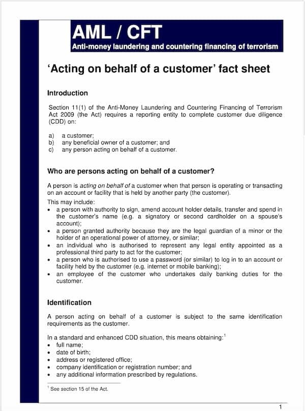 Acting on Behalf of a Customer Fact Sheet