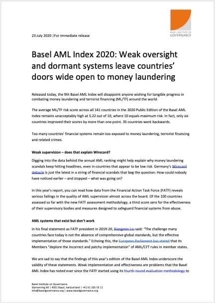 Basel AML Index 2020 Newsletter