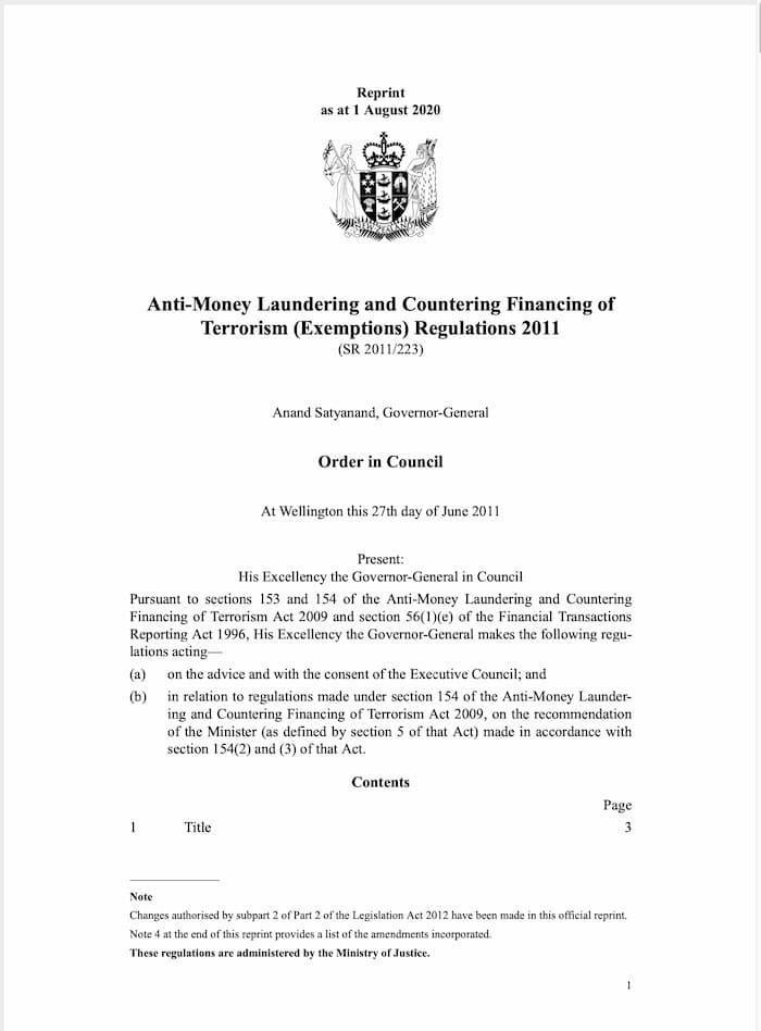 Anti-Money Laundering and Countering Financing of Terrorism (Exemption) Regulations (2011)