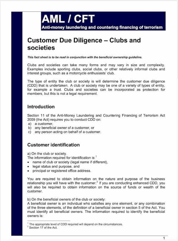 Customer Due Diligence Clubs & Societies Fact Sheet