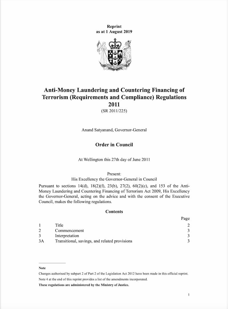 Anti-Money Laundering and Countering Financing of Terrorism (Requirements and Compliance) Regulations (2011)