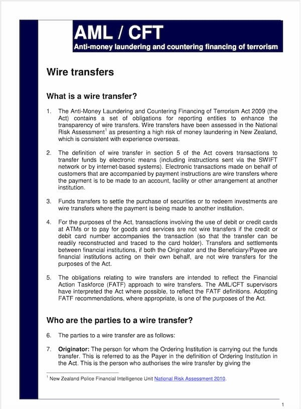 Wire Transfers Guideline