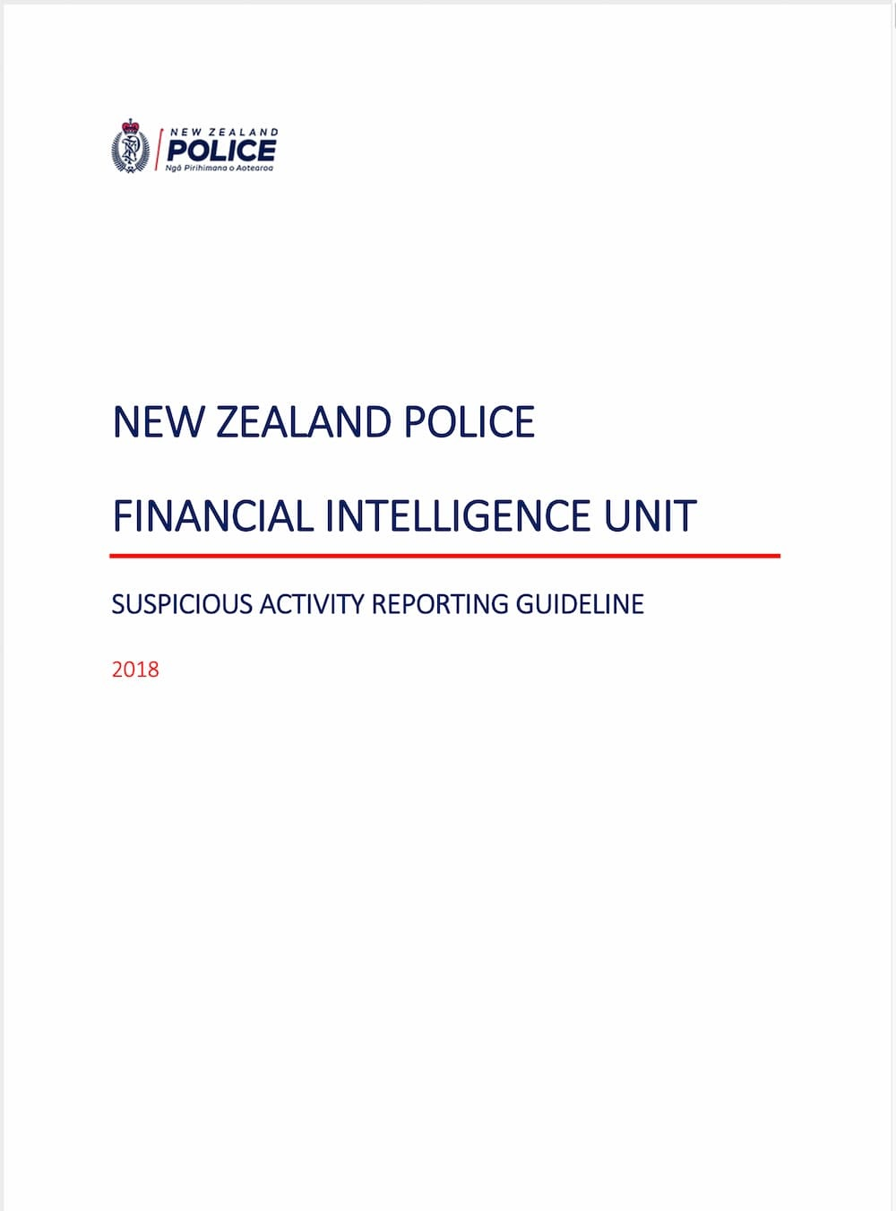 FIU Suspicious Activity Reporting Guideline (2018)