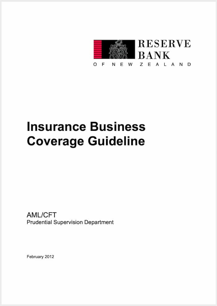 RBNZ Insurance Business Coverage Guideline (2012)