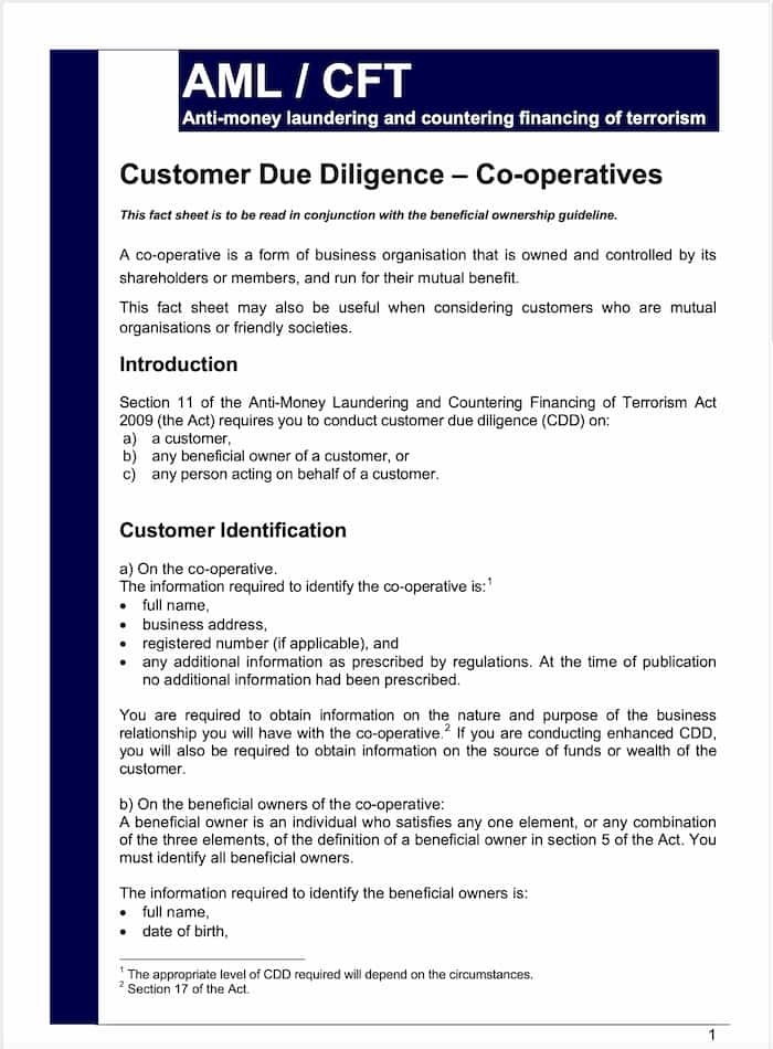 Customer Due Diligence Co-operatives Fact Sheet