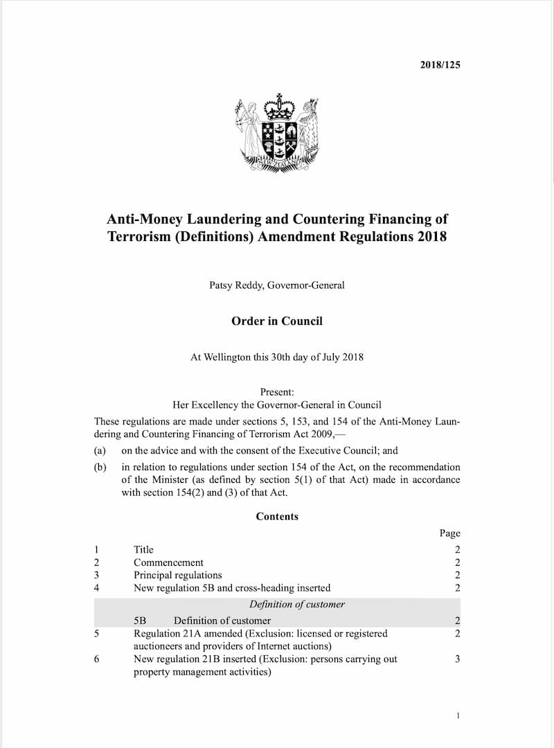 Anti-Money Laundering and Countering Financing of Terrorism (Definitions) Amendment Regulations (2018)