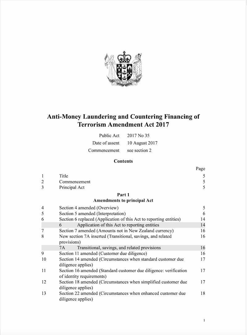 Anti-Money Laundering and Countering Financing of Terrorism (Requirements and Compliance) Amendment (2017)